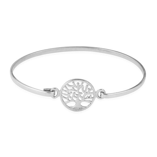 Designer Inspired- High Polished Sterling Silver Tree of Life Bangle (Size 7), Silver wt 5.70 Gms.