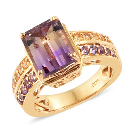Anahi Ametrine (Oct 3.30 Ct), Citrine and Amethyst Ring in 14K Gold Overlay Sterling Silver 3.750 Ct