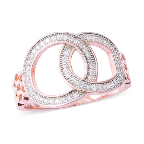 ELANZA Simulated Diamond (Rnd) Ring in Rhodium and Rose Gold Overlay Sterling Silver