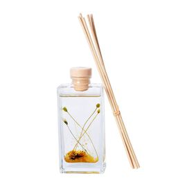 135ml Refillable Glass Bottle Oil Diffuser with Dry Flower and Reed Sticks (Size 7.5x24.5x10 Cm) - N
