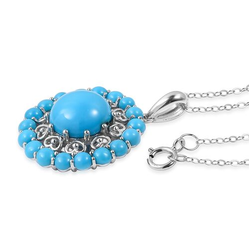 Arizona Sleeping Beauty Turquoise (Rnd 3.25 Ct) Pendant with Chain  in Rhodium Overlay Sterling Silver 5.250 Ct.