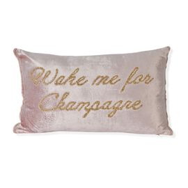 Wake me For Champagne - Cushion with Hand Embroidered Beads (30x50 cm Filling Incl.) Pink