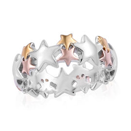 Platinum, Yellow and Rose Gold Overlay Sterling Silver Star Band Ring