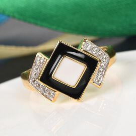 GP Art Deco - Natural Cambodian Zircon and Blue Sapphire Ring in 14K Gold Overlay Sterling Silver