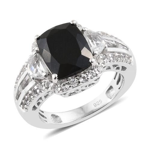 Black Tourmaline (Cush 3.25 Ct), White Topaz Ring in Platinum Overlay Sterling Silver 4.250 Ct, Silv