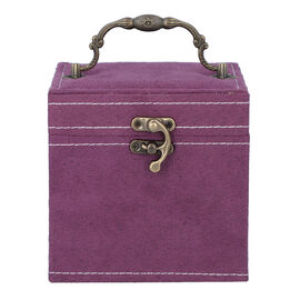 Purple Velvet 3 layer jewelry box with mirror vintage style handle and lock