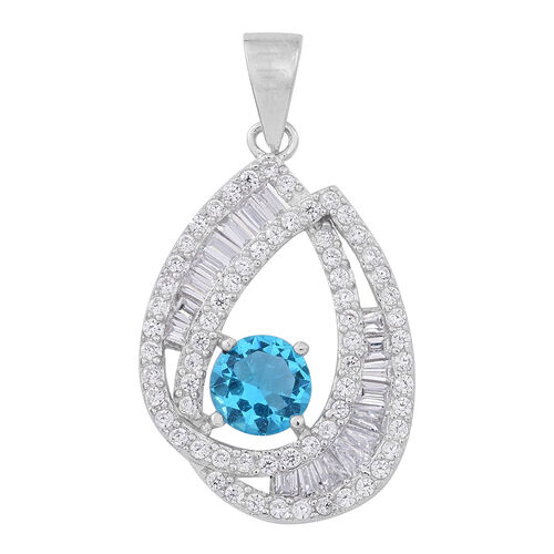 Signature Collection-ELANZA AAA Simulated Aquamarine (Rnd), Simulated Diamond Pendant in Rhodium Plated Sterling Silver, Silver wt 3.19 Gms.