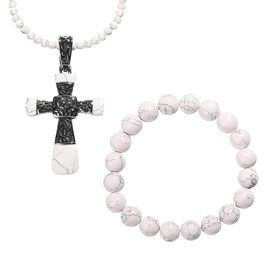 White Howlite (197.35 Ct) Stainless Steel 3 Pcs Bracelet (Size 6.75), Necklace (Size 20) and Pendant