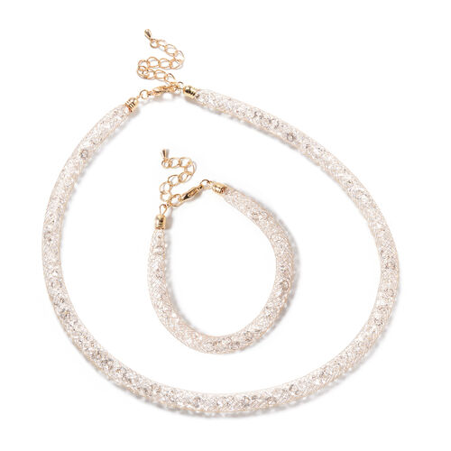 2 Piece Set - White Austrian Crystal Necklace (Size 18 with 4 inch Extender) and Bracelet (Size 8 wi