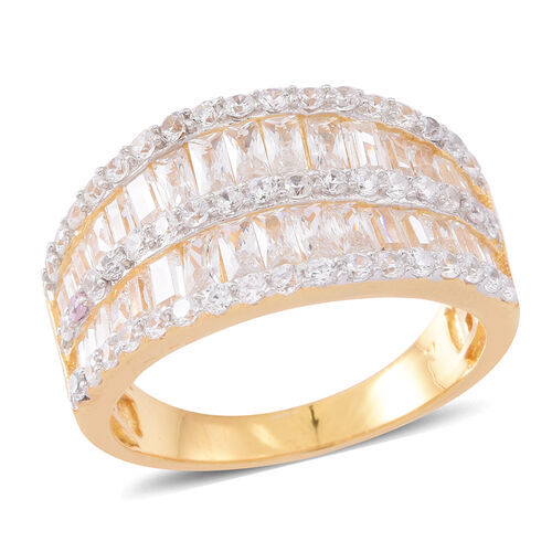 ELANZA Simulated White Diamond (Bgt) Ring in 14K Gold Overlay Sterling Silver, Silver wt 7.20 Gms.
