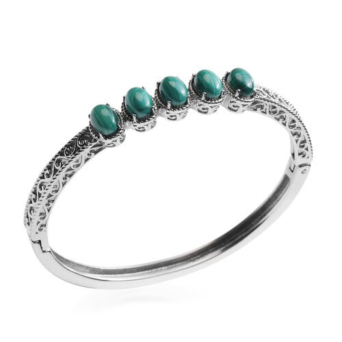 Malachite Bangle (Size 7) in Stainless Steel 1.25 Ct.