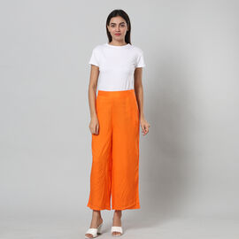 100% Viscose Palazzo Pants with Elasticated Waist and Flared Hem (Size S/M, 10-14) - ORANGE