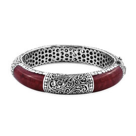 Super Auction - Royal Bali Colleciton - Red Sponge Coral Bangle (Size 7.5) in Sterling Silver, Silve