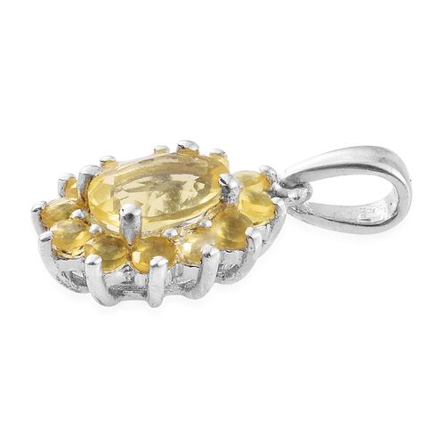 Natural Canary Opal (Ovl) Pendant in Platinum Overlay Sterling Silver 1.000 Ct.