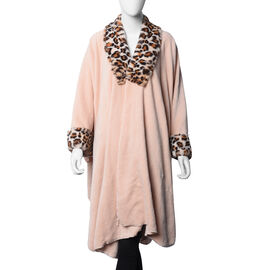 Faux Fur Coat with Leopard Print Collar and Cuffs (Size 140x100 Cm) - Peach