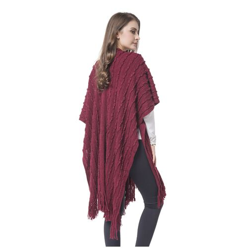 Wine Red Colour Stripes Pattern Knitted Kimono with Tassels (Size 90X75 Cm)