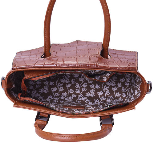 100% Genuine Leather Litchi and Croc Pattern Tote Bag with Detachable and Adjustable Shoulder Strap (Size31x9x23cm) - Brown