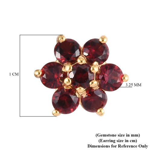 AA Red Spinel Floral Enamelled Stud Earrings (with Push Back) in 14K Gold Overlay Sterling Silver 2.00 Ct.