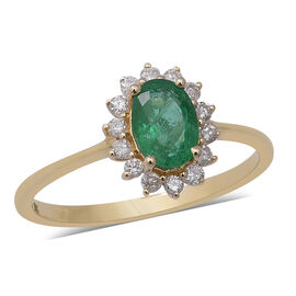 9K Yellow Gold Kagem Zambian Emerald (Ovl 7x5mm), Natural Diamond Ring 1.00 Ct.
