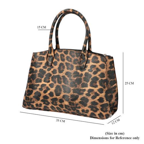 Close Out Collection Leopard Print Tote Handbag (Size - 35x12x25cm) - Brown