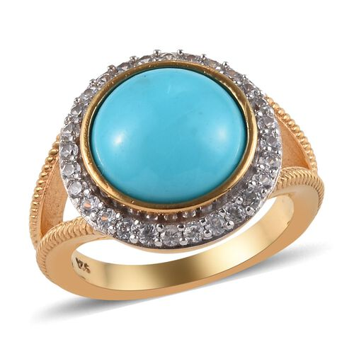 4.40 Ct Sleeping Beauty Turquoise and Zircon Ring in White and Yellow Gold Plated Silver