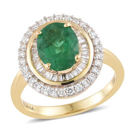 ILIANA 18K Yellow Gold AAA Santa Terezinha Premium Emerald (Ovl 9x7 mm,1.60 Ct), Diamond (SI/G-H) Ring 2.000 Ct.