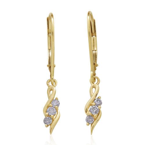 9K Yellow Gold Diamond (I3/G-H) (Rnd) Lever Back Earrings 0.200 Ct