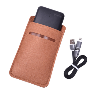 3 piece Set - 10000mAh Power Bank, 2 in 1 Charging Cable and Sleeve - Black & Brown
