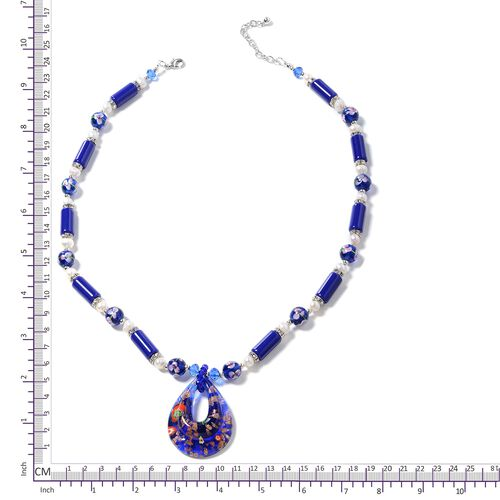 Murano Style Glass (Pear ),Blue Ceramic, Fresh Water White Pearl, Simulated Blue Sapphire, White Austrian Crystal and Multi Colour Beads Necklace (Size 26 with 2.50 inch Extender) in Silver Bond