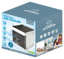 Multi Function Portable Air Cooler and Humidifier in White and Grey (16X16 CM)