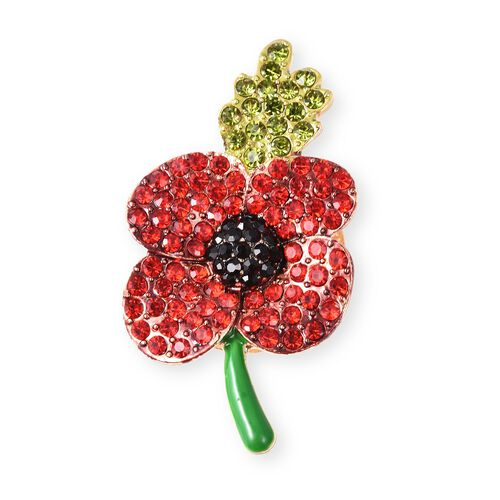 Poppy Design Multicolour Austrian Crystal Enamelled Poppy Floral Magnetic Brooch in Gold Tone