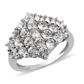 J Francis White Crystal from Swarovski Cluster Ring in Platinum Plated