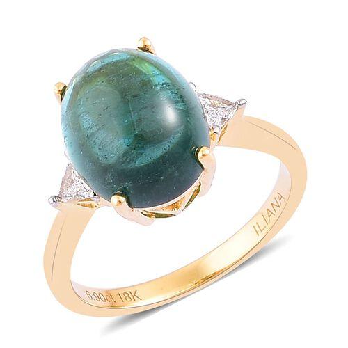 ILIANA 18K Y Gold AAA Monte Belo Indicolite (Ovl 7.00 Ct), Diamond (SI/G-H) Ring 7.100 Ct.