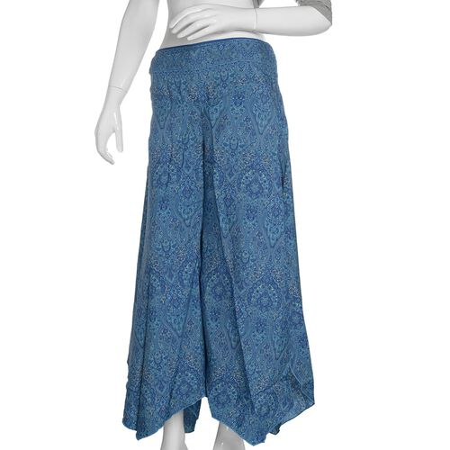 Blue and White Colour Ethnic Pattern Palazzo Trouser (Free Size)
