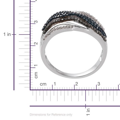 Blue Diamond (Rnd), Natural Champagne Diamond and White Diamond Ring in Platinum Overlay Sterling Silver 0.755 Ct.