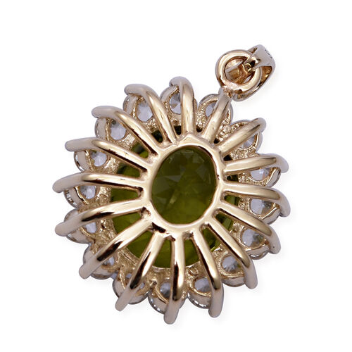 9K Yellow Gold Hebei Peridot (Ovl 12x10 mm), Natural Cambodian White Zircon Pendant 6.350 Ct.