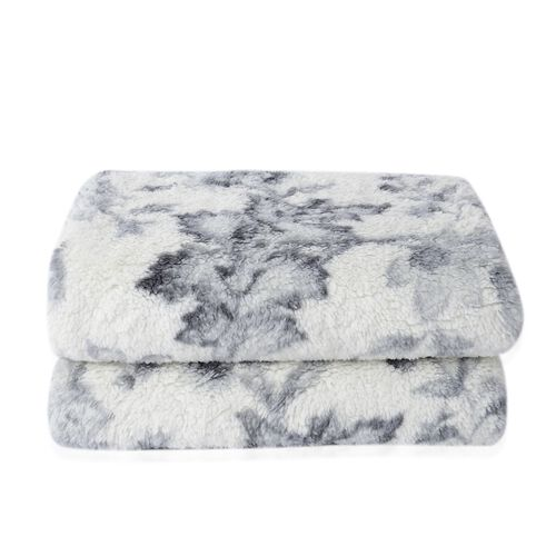 White and Grey Colour Floral Printed Sherpa and Flannel Bonded Blanket (Size 200x150 Cm)