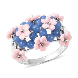 Jardin Collection - Blue Jade (3.25 Ct), Pink Mother of Pearl Floral Dome Ring in Rhodium Overlay St