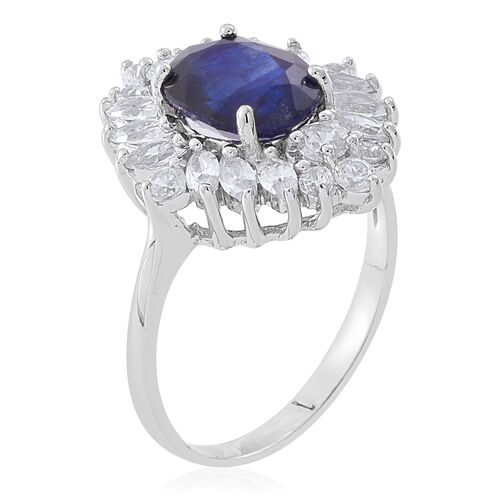 Masoala Sapphire (Ovl 3.70 Ct), Natural White Cambodian Zircon Ring in Rhodium Plated Sterling Silver 6.150 Ct.