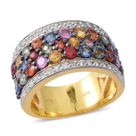 Rainbow Sapphire (Rnd), Natural White Cambodian Zircon Ring in Platinum, Black and Yellow Gold Overlay Sterling Silver 5.040 Ct. Silver wt. 8.8 Gms.