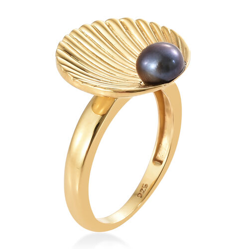 Fresh Water Peacock Pearl (5 mm) Ring in 14K Gold Overlay Sterling Silver Ring, Silver wt 3.75 Gms.