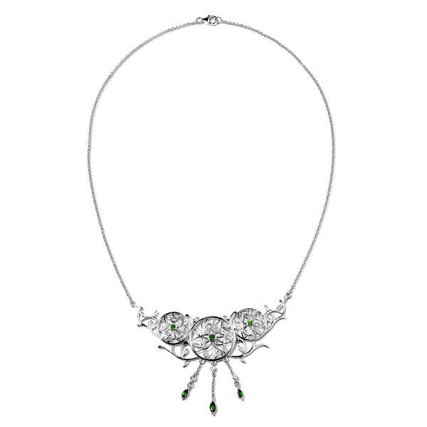 LucyQ Russian Diopside (Rnd and Mrq), Natural Cambodian Zircon Leaf Vine Dream Catcher Necklace (Size 20) in Rhodium Overlay Sterling Silver