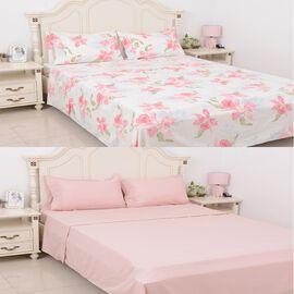 8 Piece Set 2x Fitted Sheet, 2x Flat Sheet and 4x Pillow Case Set (Size King) Pink