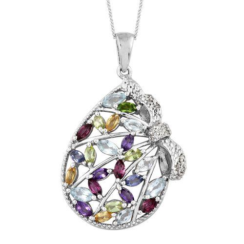 Designer Inspired- Rhodolite Garnet (Mrq), Sky Blue Topaz, Multi Gemstone and Diamond Pendant with Chain in Platinum Overlay Sterling Silver 2.500 Ct. Silver wt 5.27 Gms.