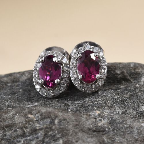 9K White Gold Rhodolite Garnet (Ovl), Natural Cambodian Zircon Stud Earrings (with Push Back) 1.33 Ct.