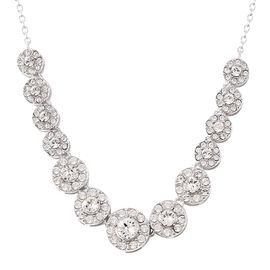 J Francis - Crystal from Swarovski White Crystal (Rnd) Necklace (Size 18) in Rhodium Overlay Sterlin