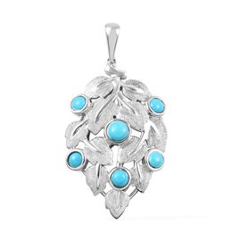 0.91 Ct Arizona Sleeping Beauty Turquoise Leaf Pendant in Platinum Plated Sterling Silver