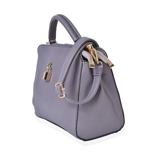 Grey Colour Crossbody Bag with Lock Design Closure and Adjustable and Removable Shoulder Strap (Size 25.5X22X12.5 Cm)