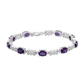 Zambian Amethyst (Ovl 7x5 mm) Bracelet (Size 7.5 with Extender) in Rhodium Overlay Sterling Silver 6
