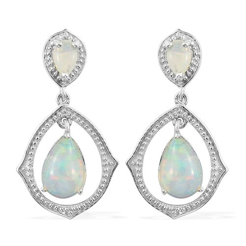 Ethiopian Welo Opal (Pear) Earrings (with Push Back) in Platinum Overlay Sterling Silver 2.750 Ct.